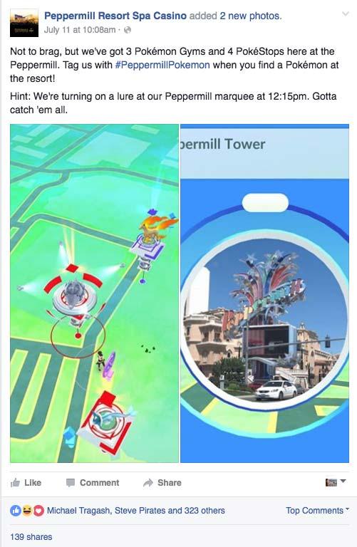 Peppermill's Pokemon Go Social Post