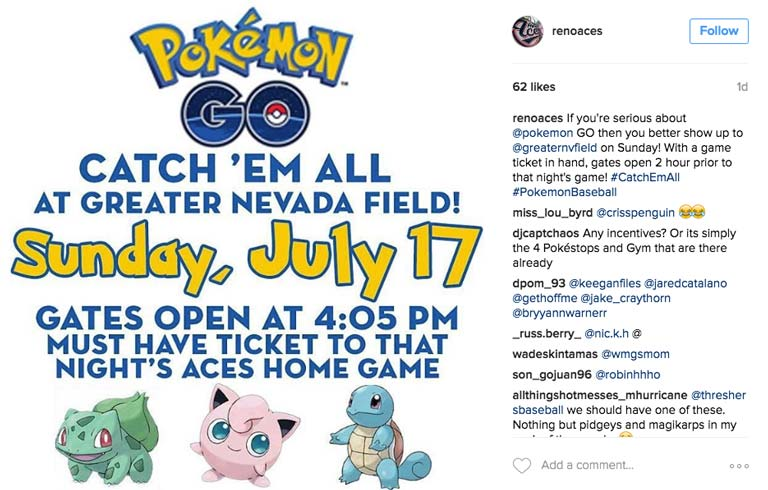 Reno Aces Instagram Post