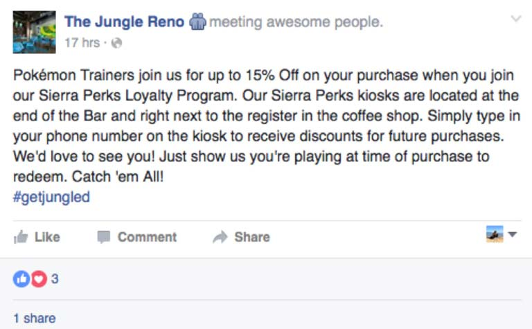 The Jungle Reno Facebook Post