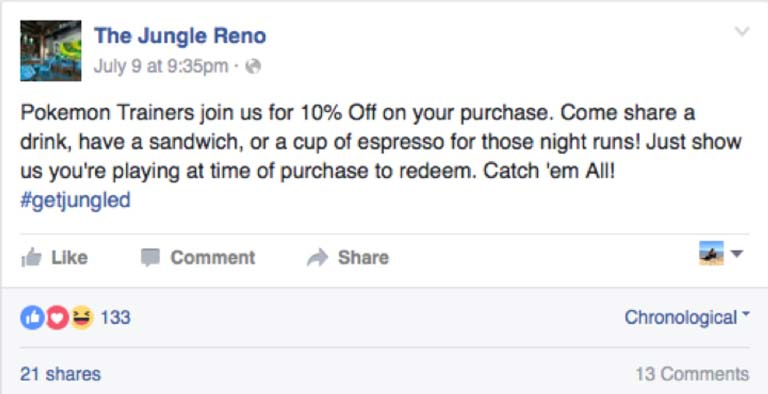 The Jungle Reno Facebook Post